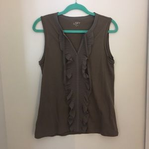 LOFT Ann Taylor Ruffle Sleeveless Top
